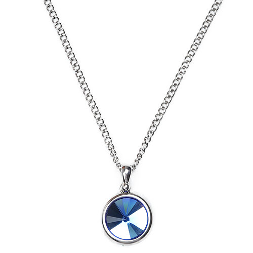 M Circle Blue Stone Necklace