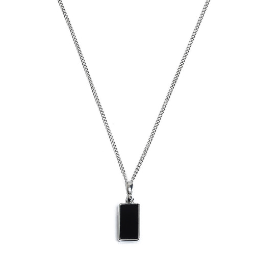 Second M Simple Black Square Necklace