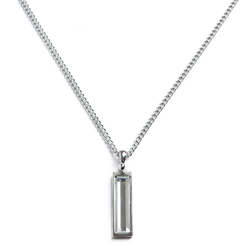 M White Stone Square Necklace
